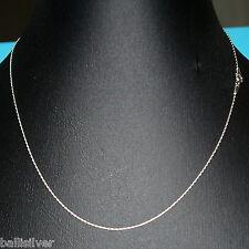 """18"""" 45cm Sterling Silver 925 0.6mm Fine Chain Necklace - Genuine Italian Silver"""
