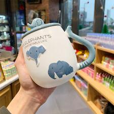 """Cute Elephant"" Ceramic Mug Cup with Lid Tea Milk Coffee Cup Kids Drinkware Gift"