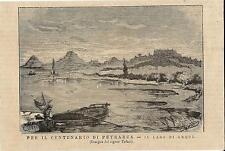 Stampa antica ARQUA' veduta lago Centenario del Petrarca Padova 1874 Old print