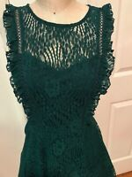 City Triangles Dress Hunter Green Lace Ruffles Party Sleeveless NEW 7 Jr. 6 Reg