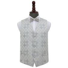DQT New Jacquard Diamond Pattern Vest Wedding Prom Men's Waistcoat & Bow Tie