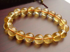 Crystal Round Beads Bracelet 10 mm new Genuine Natural Yellow Citrine Quartz