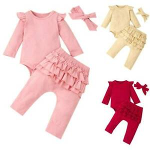 Warm Infant Baby Girl Romper Jumpsuit Tops Pants Headband Outfits Clothes Set