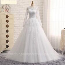 New Wedding Dress White Ivory Long Sleeve Lace Size 4 - 30 UK Nancy