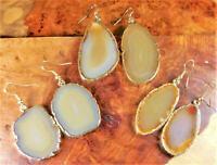 Agate Slice Earrings Pair - Natural Brown - Gold Plated (Y4)