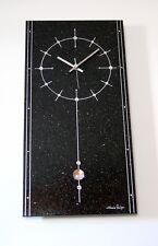 XXL Funk Wanduhr Granit Galaxy Black Star schwarz Swarovski Elements 60 x 30