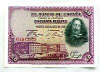 Spain- II República.  Billete. 50 Pesetas 1928. Madrid. Velázquez. SC/UNC