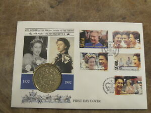 19992 FDC / $1 dollar coin cover -Samoa - Queen / Royal Anniversary