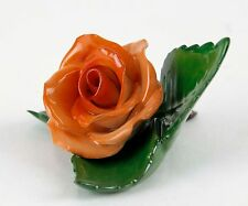Herend Hungary Handpainted Green Peach Rose On Leaves Sculpture 91061C H12