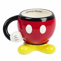 MICKEY MOUSE DISNEY CERAMIC PARTS BOTTOM PANTS COFFEE TEA MUG CUP RED W/ ARM NEW