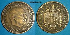 ESTADO ESPAÑOL FRANCO ESCASA moneda 1 Peseta 1947*1948 CIRCULADAS de BC a MBC-.