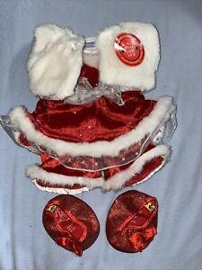 Build-a-Bear Christmas Red White Outfit W/ Shoes Fur Trim Velvet Fur Jacket