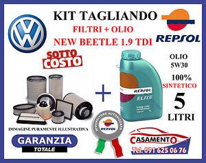 KIT TAGLIANDO 4 FILTRI VW NEW BEETLE 1.9 TDi + 5 LITRI OLIO REPSOL 5W30