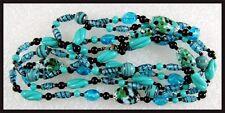 "Vintage Deco Era 55"" Long Sautoir BLUE & Black Italian Art Glass Necklace"