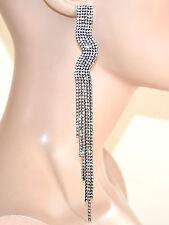 ORECCHINI donna neri strass eleganti pendenti lunghi fili cristalli F80