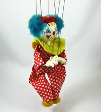 Pelham Clown Marionette Wooden Puppet Hand Painted Made in England Vintage
