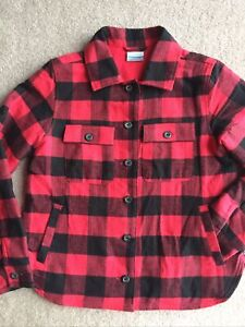 COLUMBIA red plaid brushed flannel fleece lined outdoor buttons shirt jacket M