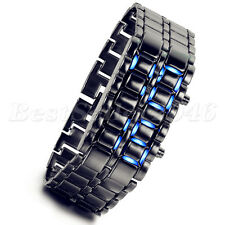 Men's Lava Iron Samurai Metal LED Faceless Bracelet Electronic Wrist Watch New