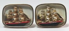Swank Cufflinks Sailboats Sailing Boats Gold Tone Signed Vintage