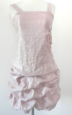Paper Doll Bubble Dress SizeM Ruched Mini Dress Floral Satin Light Pink