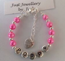 Personalised  Pink Pearls Childs bracelet with heart charm handmade