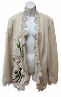 Karen Kane Plus Size 2X Linen Jacket Floral Embroidery Crochet Art to Wear