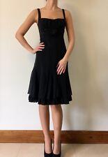 PAULE KA (£ 700) en coton noir soie bell jupe Sweetheart Cocktail Party Dress 36