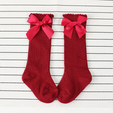 New Kids Toddlers Girls Big Bow Knee High Long Soft Cotton Lace Baby Socks Kids