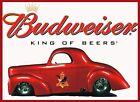 BUDWEISER METAL TIN SIGN COUPE HOT ROD NHRA DRAG RACING STREET STRIP BEER BAR