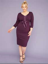 a389587b Lane Bryant Women's 3/4-Sleeve Corset Sheath Dress Plus 18 Deep Eggplant