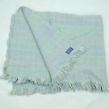 "VTG 60s Pendleton Virgin Wool Blanket Throw Camp Plaid Blue Fringe 44""x 55"""