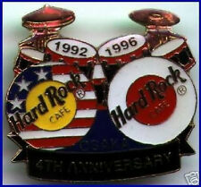 Hard Rock Cafe OSAKA 1996 4th Anniversary PIN Black Bar DRUMS HRC Catalog #7150