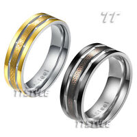 TTstyle 316L Stainless Steel Engraved Greek Key Band Ring Choose Colour