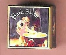 DOLL HOUSE MINIATURE VINTAGE BATH SALTS TIN CHILD CAT Fill w/ Candy, Cookies Sew