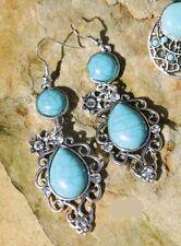 Mode-Ohrschmuck im Hänger-Stil aus Metall-Legierung mit Türkis-Perlen
