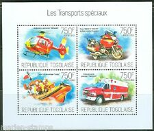 TOGO 2013 SPECIAL TRANSPORTATION HELICOPTER MOTORCYCLES SHEET MINT NEVER HINGED