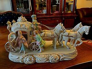 Japan Bisque porcelain Romantic group Figurine coach Princess Carriage Horses 19