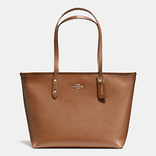 Coach City Zip Tote Shoulder Bag  Crossgrain Leather Light Saddle Brown F58846