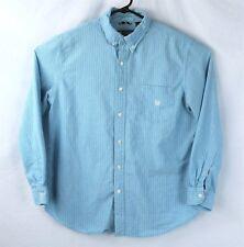 Chaps Aqua Blue Stripes 100% Cotton Button Down Shirt Mens Size L