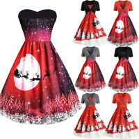 Women Vintage Christmas Printed Short Sleeve Bow Knot A-Line Swing Dress Suit