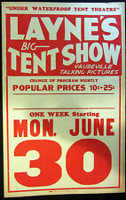 Original Layne's Big Tent Show Window Card