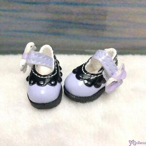 SHP112LPB Mimiwoo 1/6 BJD 3.3cm Mary Jane Strap Doll Shoes Purpe & Black