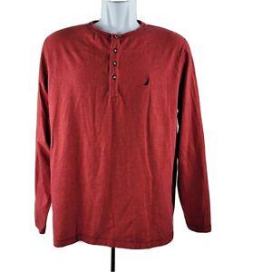 Nautica Sleepwear Henley Long-Sleeve T-Shirt Medium Red Soft!