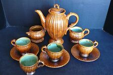 New listing Vintage Stoneware Chocolate Pot Set Stangl Pottery Rust ? and Green Sea Foam