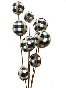 Black Buffalo Plaid Ball Christmas Pick Ornament Wreath Decor Country Rustic R
