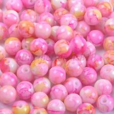 Mixed MOTTLE Glass Marble Effect Round BEADS - Choose 4MM, 6MM & 8MM