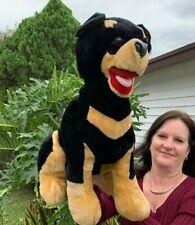 "LARGE Vintage Beautiful Black Doberman Puppy Dog 22"" Plush Stuffed Animal Toy"