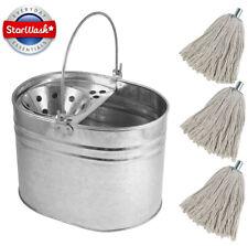 More details for heavy duty metal mop bucket galvanised cotton floor mop head set strong 14 litre