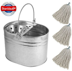 Heavy Duty Metal Mop Bucket Galvanised Cotton Floor Mop Head Set Strong 14 LITRE
