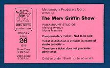 MERV GRIFFIN, The Merv Griffin Show 1976. PARAMOUNT STUDIOS, Ticket !